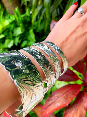 Hawaiian Scroll Bracelet in Silver Plate Assorted Sizes