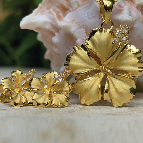 Hawaiian Hibiscus Pendant & Earring Set in 14K gold plate over .925 sterling silver.