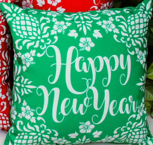 Hawaiian Holiday Pillows Happy New Year Green
