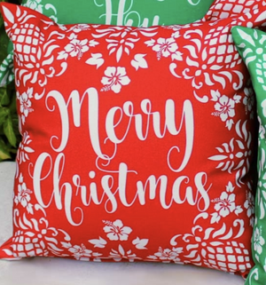 Hawaiian Holiday Pillow Merry Christmas Red