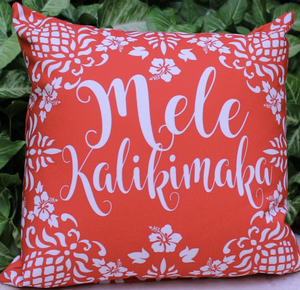 Hawaiian Holiday Pillow Red Mele Kalikimaka