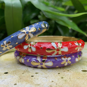 Tiare Style Hinged Bangle - Blue, Red and Purple