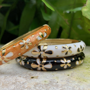 Tiare Style Hinged Bangle - Gold, White and Black