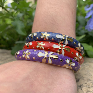 Tiare Style Hinged Bangle - Blue, Red and Purple on Model