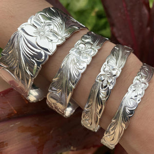 10MM to 28MM Silver Plated Scroll Bracelets on Model