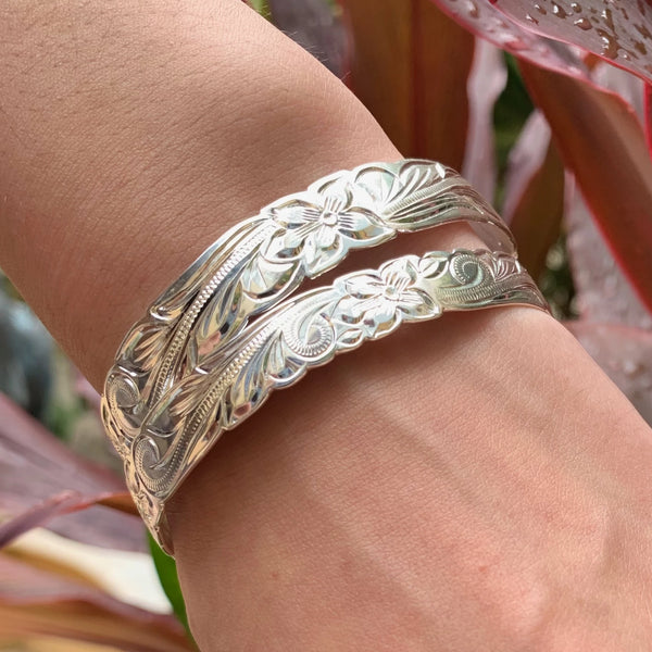 10mm and 12mm Silver Plated Scroll Bracelet Stacked on Model