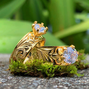 Hawaiian Scroll Gold Plated Barrel CZ Ring
