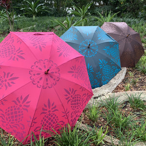 Prink, Teal & Brown Hawaiian Pineapple Print Umbrella