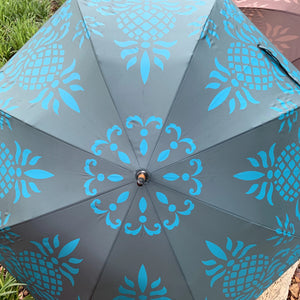 Teal Hawaiian Pineapple Print Umbrella
