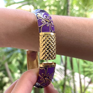 Purple Hibiscus Bangle with extension piece in place