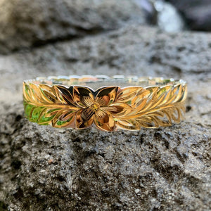 Maile Two Tone Gold on Silver Bangle or Cuff