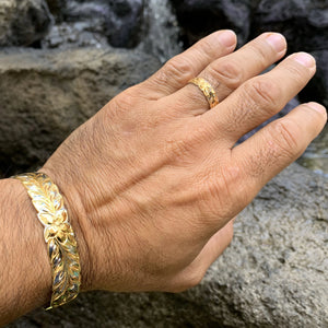 Maile Two Tone Gold on Silver Bangle or Cuff w/ Matching Ring