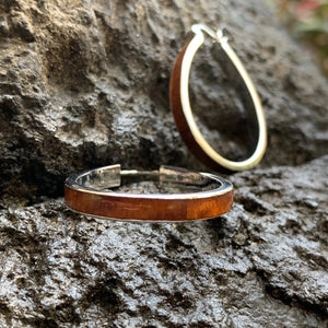 Koa Tear Drop Earring Silver