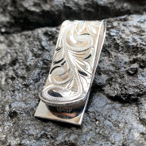 Hawaiian Scroll Money Clip Front Close Up