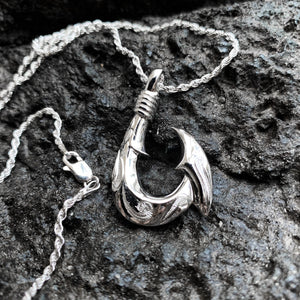 Hawaiian Scroll Sterling Silver Fish Hook