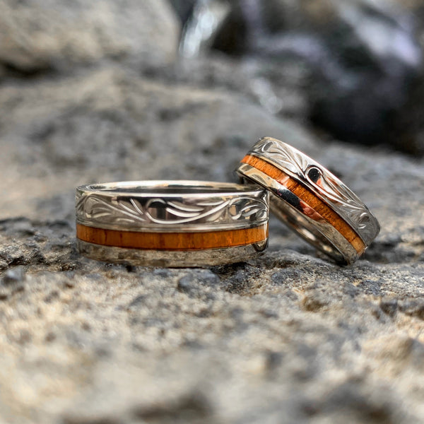 Koa Titanium Bands with Hawaiian Scroll Design