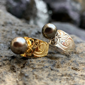 Hawaiian Scroll Black Shell Pearl Ring