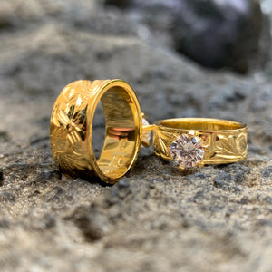 Hawaiian Scroll Gold Plated Barrel CZ Ring Back of Ring