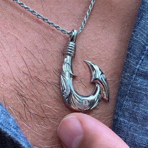 Hawaiian Scroll Sterling Silver Fish Hook on Model