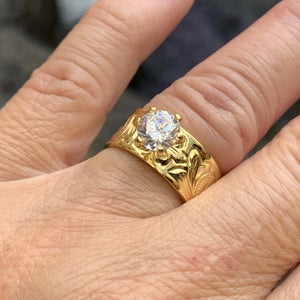 Hawaiian Scroll Gold Plated Barrel CZ Ring on Model Hand