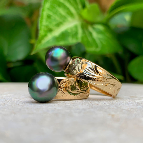 Hawaiian Scroll w/ Tahitian Style Shell Pearl Ring