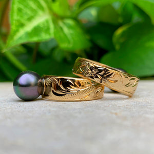 Tahitian Style Shell Pearl Hawaiian Scroll Ring