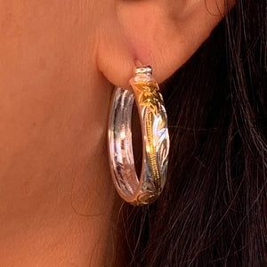 Hawaiian Scroll Two Tone Hoop Earrings