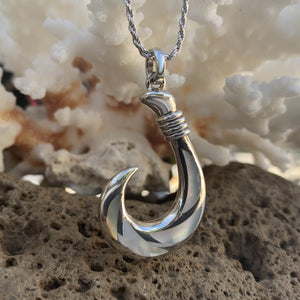 Sterling Silver White Mother of Pearl Fish Hook