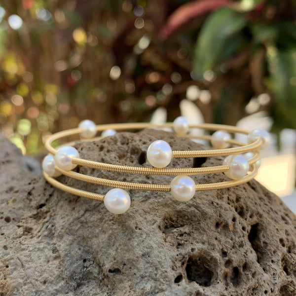 Memory Wire Flex Cultured Pearl Bracelets