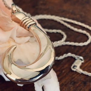 White Mother of Pearl Fish Hook Pendant