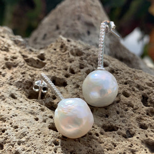 Baroque Pearl Dewdrop Design Cubic Zirconia 10mm Earrings