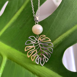 Monstera White Pearl Pendant