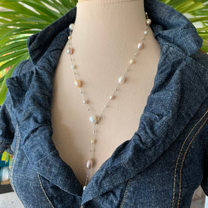 Lariat Strand Dew drop pearl necklace