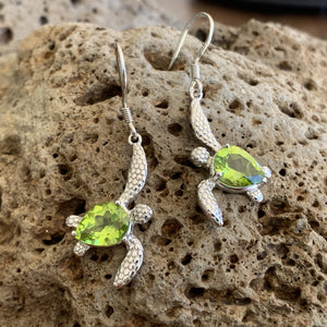 Swimming Honu Peridot Earrings