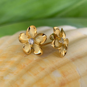 Plumeria Cubic Zirconia Earrings