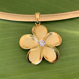 Close up of Omega Chain & Plumeria Pendant with Cubic Zirconia