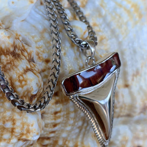 Close up of Franco Italian .925 Silver chain with Koa shark tooth.