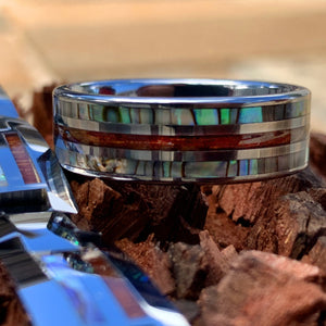 Tungsten Koa Abalone Ring