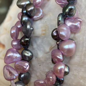 Keshi Pearls in Black, Pink and lavender.