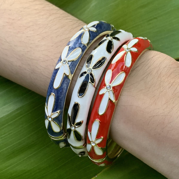 Plumeria CZ Bangles (SET of 3)