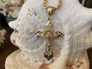 14K Gold plated cross close up.