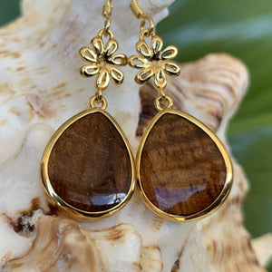 Pineapple Koa Teardrop Earrings
