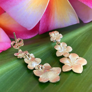 Plumeria Flower 3 Tier Earrings shown close up with post and back of earring showing.