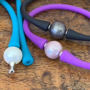 Edison Pearl Flex Silicone Bracelet in Three colors showing end piece