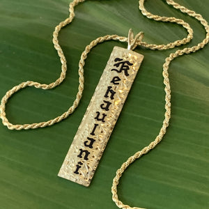 Hawaiian Scroll Vertical Pendant Straight Edge Black Enamel