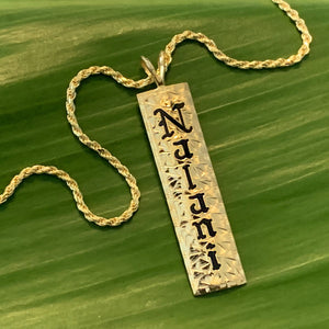 Custom Hawaiian Heirloom Style Vertical Bar Pendant Black Enamel Lettering with Straight Edge
