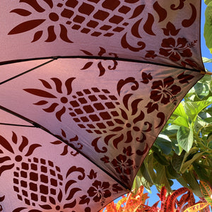 Hawaiian Quilt Pineapple Print Umbrella in Chocolate Brown