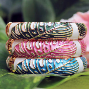 Tropical Monstera Bangle with Hinge Closeup Light Blue/Pink/Green