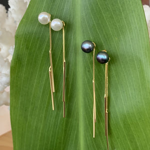 Chopstick Earrings in 14K Gold Plated over .925 Sterling Silver with Freshwater Pearl in Black and White