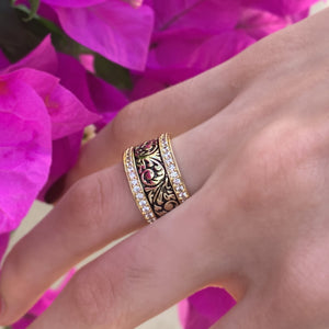 Royal Hawaiian Cubic Zirconia Scroll Ring